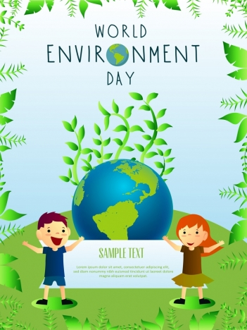 earth day banner green trees globe children icons