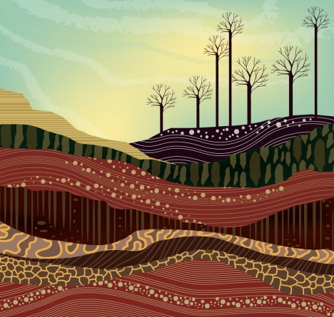 earth land layers drawing colorful curves design