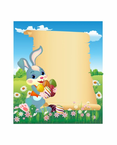 Easter Bunny With Scroll Vectors Stock In Format For Free Download