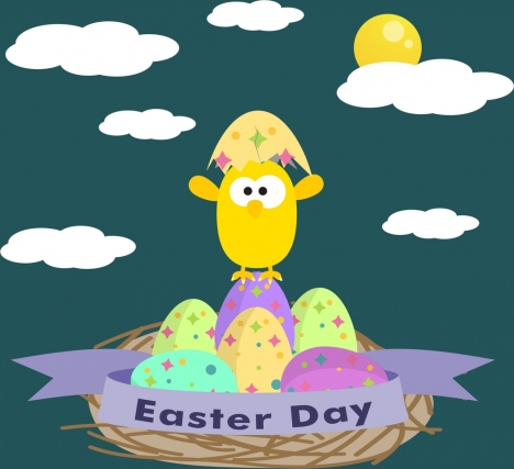 easter day background colorful eggs hatched chick decor