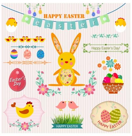 easter decoration design elements isolated bright background
