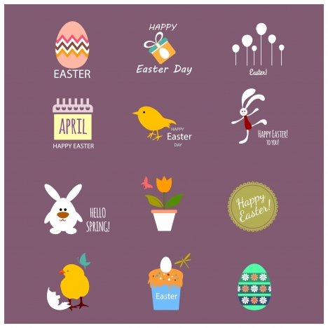 easter icons collection with colored flat design