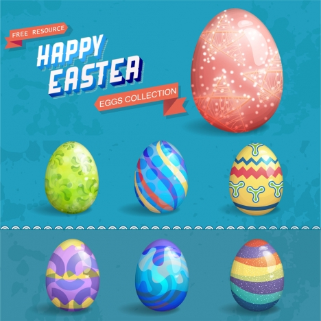 easter template design with colorful eggs
