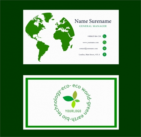 Eco business card green map circle words design vectors stock in eco business card green map circle words design reheart Images