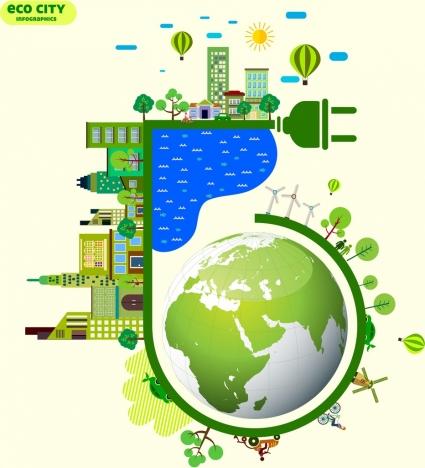eco city infographic banner green global plug icons