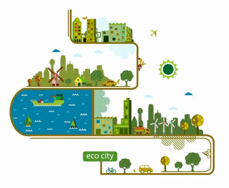 eco city infographic design with vertical style