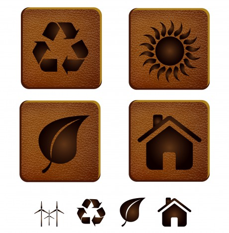 eco icon on leather background