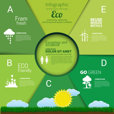 eco infographic template design with green background