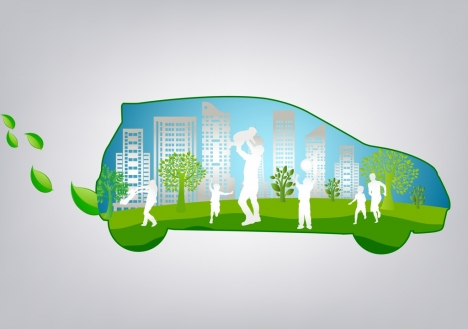 ecology background car human icons silhouette green decor