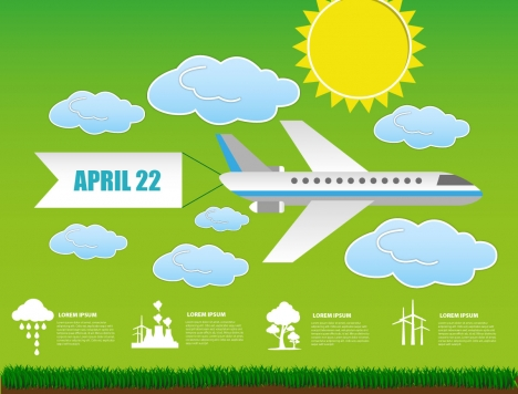 ecology banner design with airplane illustration