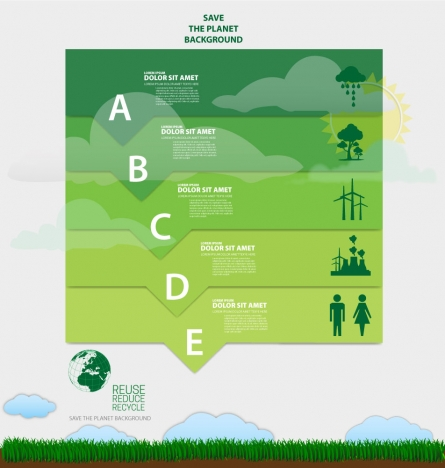 ecology banner design with vignette infographic style