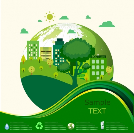 ecology banner green globe trees curves decoration