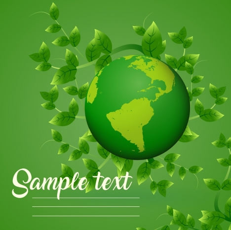 ecology banner green leaves globe icons decoration