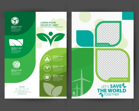 ecology brochure design with modern style vectors stock in format