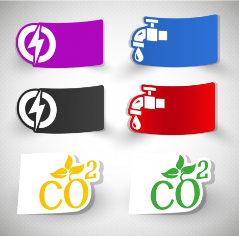 ecology icons design with curved style