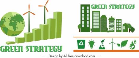 ecology strategy design elements green 3d flat symbols