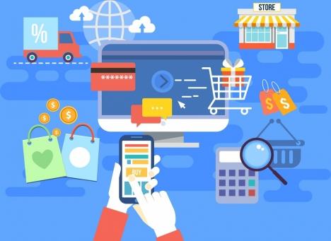 ecommerce background shopping design elements icons