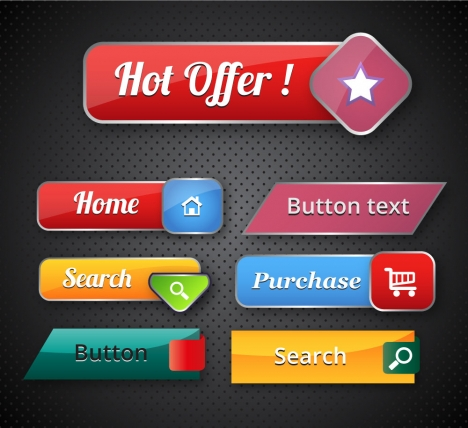 ecommerce promotion buttons vector illustration with various shapes