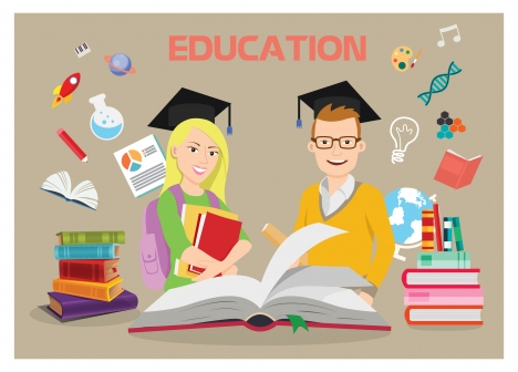 education background illustration with bachelors and education tools