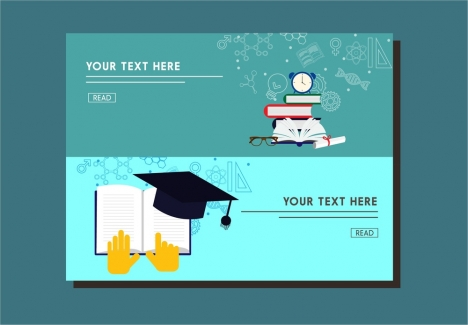 education banner webpage style design with emblems