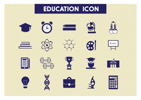 education icons set illustration with colored flat style