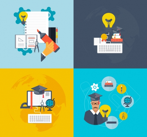 education vector illustration with school tools