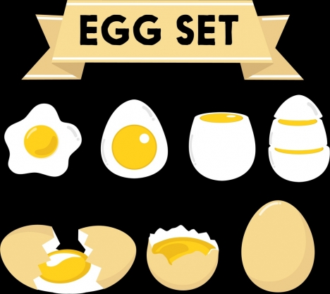 eggs food icons collection colored flat 3d shapes