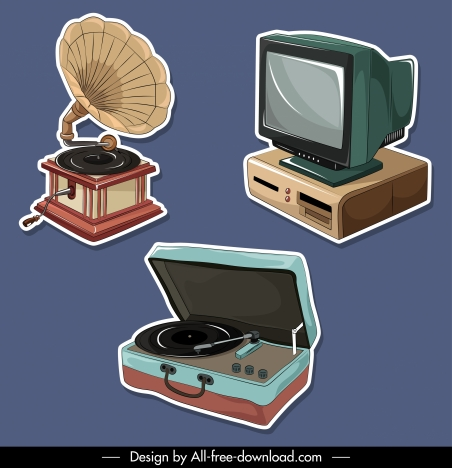 electrical device icons 3d retro sketch