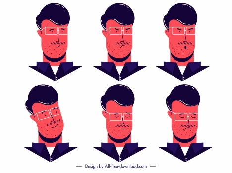 elegant man avatar icons cartoon character sketch