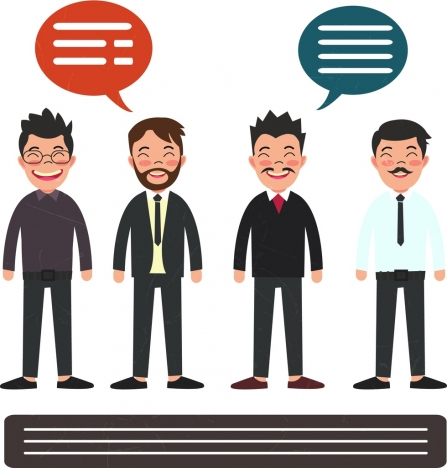 elegant men icons colored cartoon design
