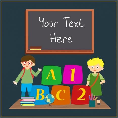 elementary education background blackboard kids studying tools icons
