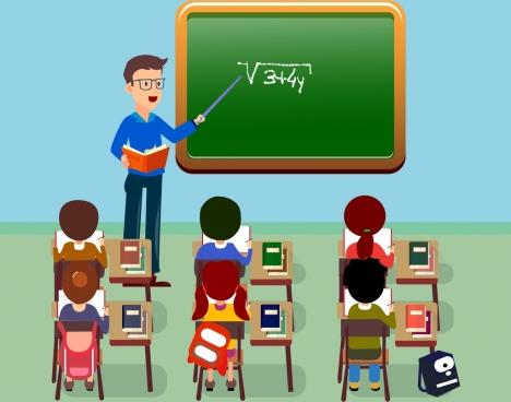 elementary teaching theme teacher pupil icons cartoon design