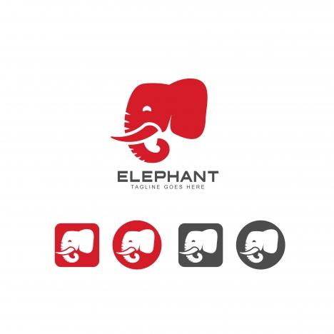 elephant head icon and logo vector