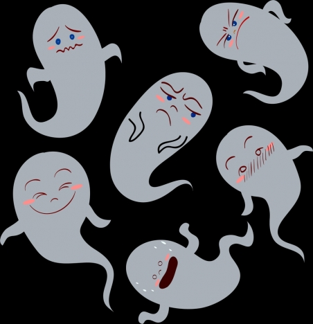 emoticon collection ghost icons funny design