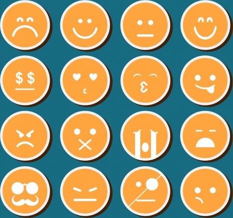 emoticon design elements collection orange circles isolation