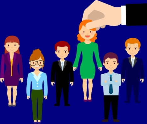 employment candidate selection concept colored human icons design
