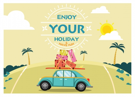 enjoy holiday banner with car and luggages illustration