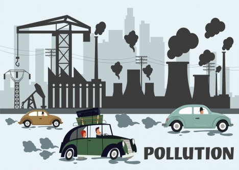 environment banner pollution car plant icons cartoon design
