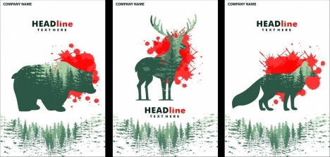 environment brochure cover sets bear reindeer wolf icons