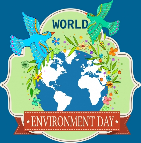 environment day banner pigeon globe icons flowers decor