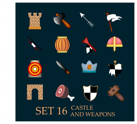 europe castle and weapons icons