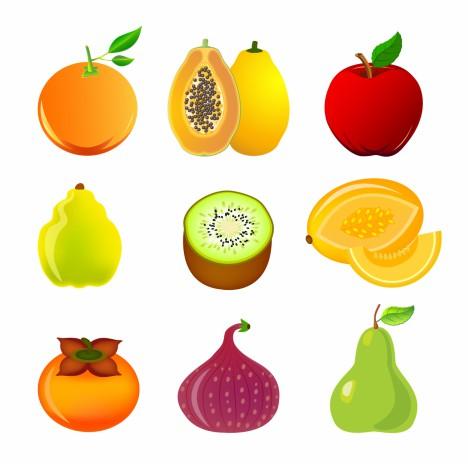 Exotic fruit icon set