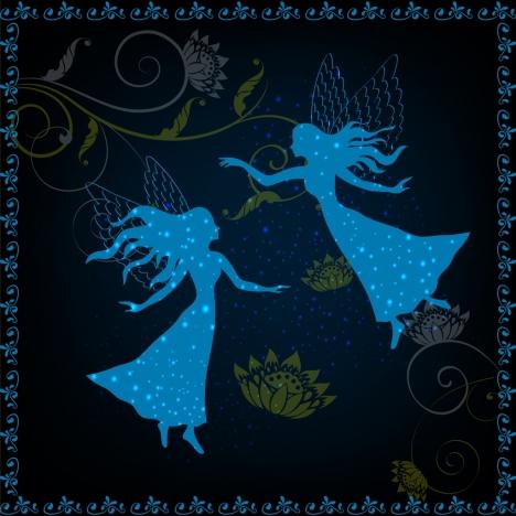 fairy background blue silhouette design women flowers decor