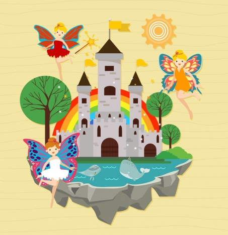fairy land background angels castles icons colored cartoon
