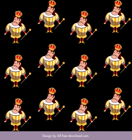 Fairy tale pattern king icon dark repeating sketch vectors stock in