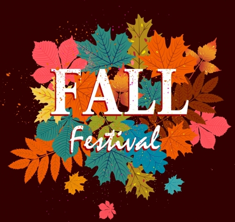 fall festival background colorful leaves ornament dark design
