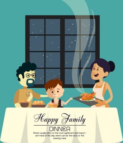 family dinner banner parents kid icons cartoon design