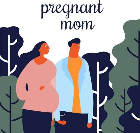 family drawing husband pregnant wife icons cartoon design