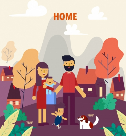 family drawing parents children home icons cartoon decor
