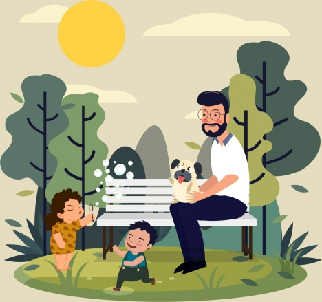 family drawing playful kids father park icons
